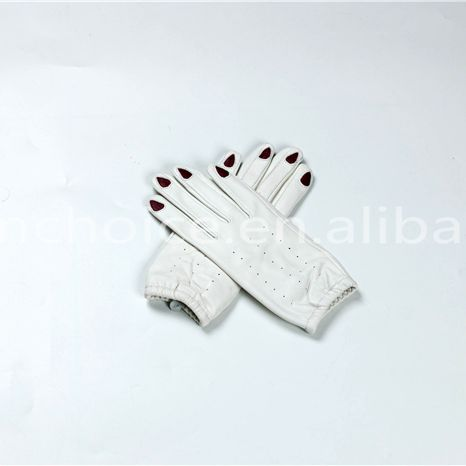 winter warm 100% leather thick lining white cute gloves for kids