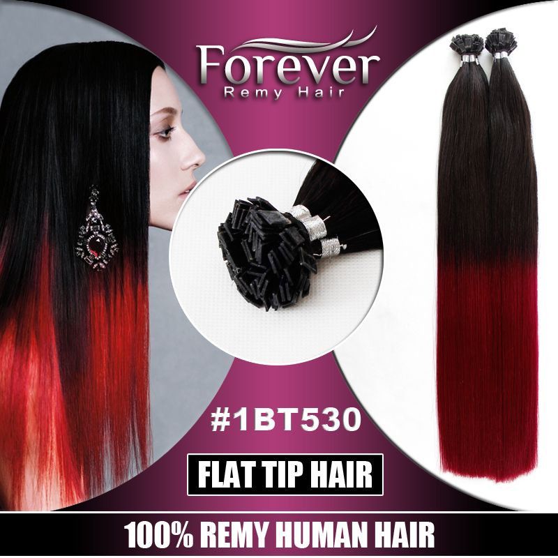 Forever women fashion Beauty malaysian remy styling straight ombre cheap italian keratin flat hair extensions