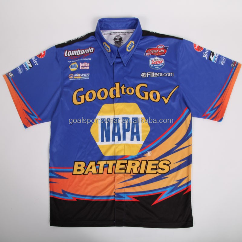 2015 100% polyester microfiber sublimated custom pit crew shirts