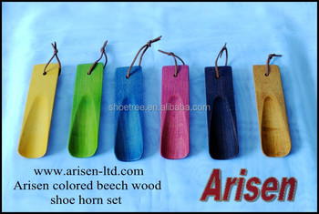 colored beech wood shoehorn set