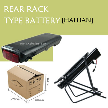 Rechargeable 18650 battery cells 36v 10.4ah rear rack electric bike battery