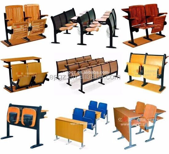 New Design Lecture Hall Ladder Chair, Library Step Chair, College Desk and Chair