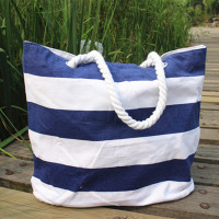 Navy striped cotton canvas ecological canvas bag tote bag shopping bag