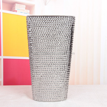 Wholesale Silver Metallic Ceramic Flat Vasesraised Dot Decor Buy