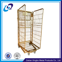 Industrial nesting wire mesh roll container