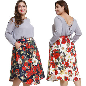 Dropshipping available high end floral high waisted pleated women circle plus size dress skirts with side pockets
