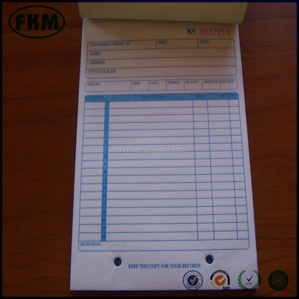 custom design 50 Receipt 2 Copy Carbonless Sales Receipt Book
