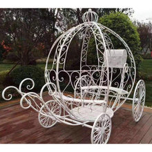 Garden wedding decoration metal wrought iron flower stand horse-drawn carriage rack shape design