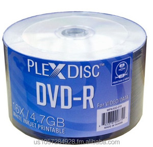 PlexDisc 632-210 16x 4.7GB White Inkjet Hub Printable DVD-R 50 Disc Spindle