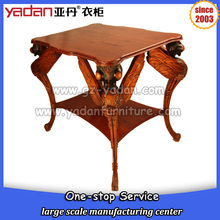 Dragonfly design triangle shaped round corner double layer wooden coffee table