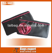promotional fashion black satin evening clutch bag with red flower