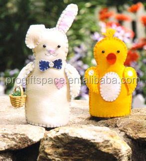 for hot sale handicraft design easter new products promotional item Easter party felt decoration make hand puppet