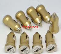 Golden Universal Car Charger USB Adapter Colorful 1000mah Bullet shape Mini USB Car Chargers For IPhone 4 5 5s Samsung HTC