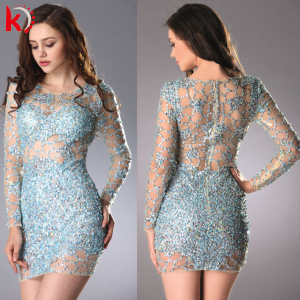 Hot Sale Elegant Beaded See-through Long Sleeve Ladies Western Dress Designs