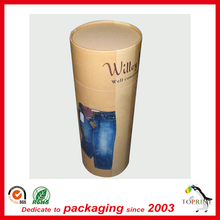 Environment Friendly custom Elegant Kraft cylinder cardboard paper tube box for clothes jeans/ t shirt