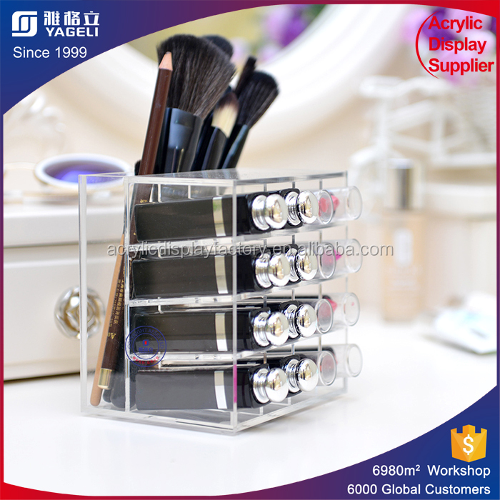 Counter display mac wholesale makeup cosmetic acrylic lipstick holder with brush holder