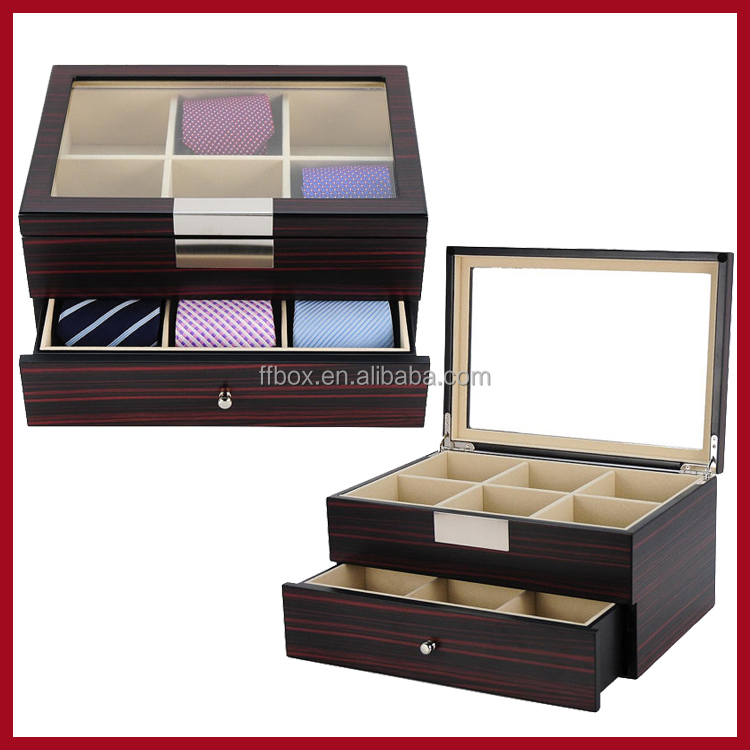 glass lid wooden necktie gift display box 12 slot with drawer tie storage box