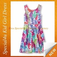 Lovely child wear clothing summer girls dress colorful rabbits pattern baby casual dress SPSY-303