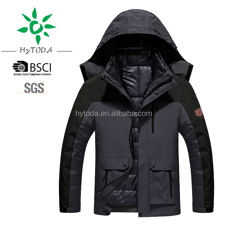 Men insulated jacket add down jackets inner detachable