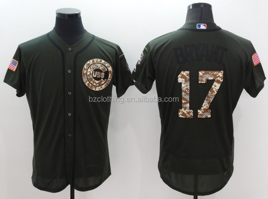 Men's Chicago Cubs Kris Bryant #17 Salute to Service Green Flexbase Jersey