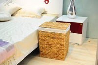 Wholesale handicrafts water hyacinth storage laundry basket with lining