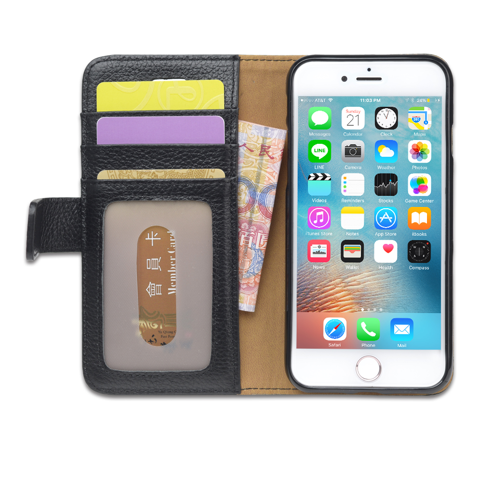 Smartphone Genuine Leather Wallet Case for iPhone 7