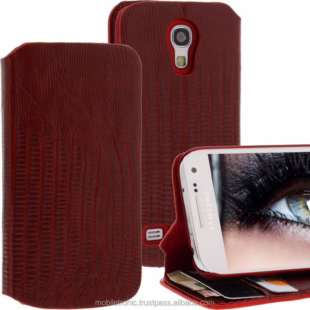 Geniune Leather Lucca Bookstyle case for Samsung Galaxy S4 Mini i9190 i9195 Croco Red Cow Leather