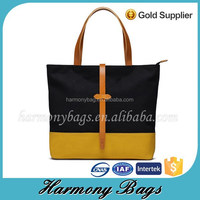 China factory leather handle plain black yellow canvas lunch shopping bag