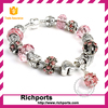 Yiwu Jewelry 925 Sliver European Charm Bracelet, DIY Crystal Bead Bracelet, Glass Charm beads for jewellery making