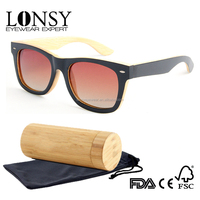 LONSY Oversized Bamboo Wooden Sunglasses Ray Band Anti-UV400 Filter