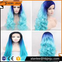 Blue colored hair synthetic hair cartoon characters blue hair with best quliaty