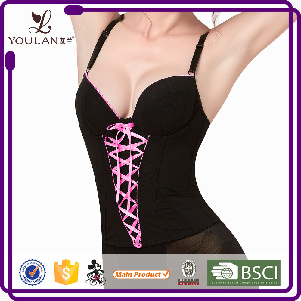 Best Price Cute Mature Women Pinck corset lingerie