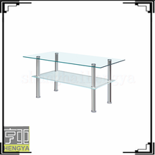Cheap used manual glass cutting white coffee table