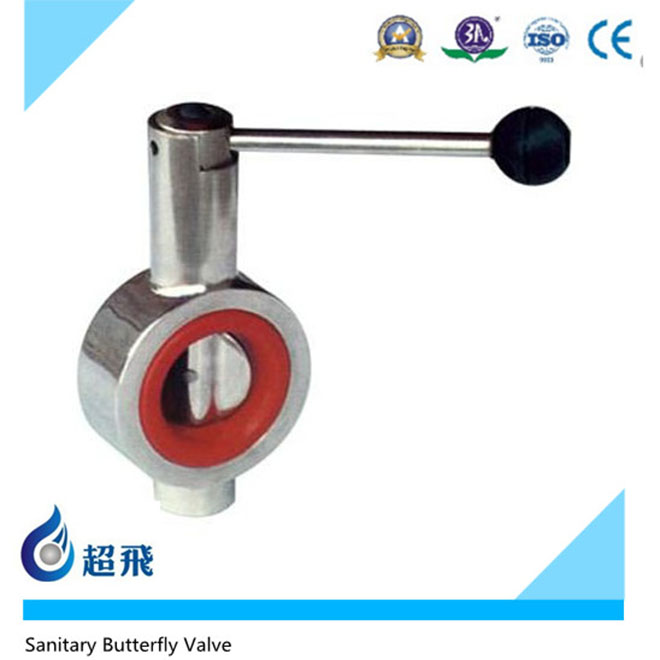 Stainless Steel SS304 Sanitation Threaded Welded Ends Butterfly Valves,Hygienic Manual Food Grade Butterfly Valves