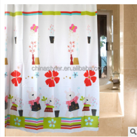 Curtain shower kids cute rabbit printed new arrival polyester bathroom plastic set children sliding shower curtain