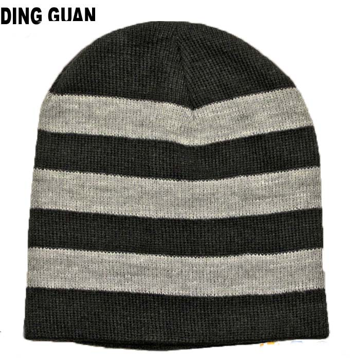 Custom Free Slouchy Beanie Knitting Pattern Hat Striped Knitted