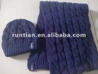 2012 Trendy Wool Blend Cable Knitting Winter hat scarf set