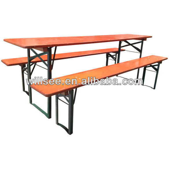 HE-207,Wooden Folding Beer Table Set/Beer Table and Bench/Wood Garden/Patio/Outdoor table sets