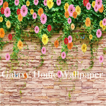 Waterproof Classic pvc vinyl Brick flower 3D Mural wallpaper