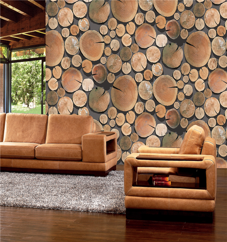 Manufacture new fashional wooden tree design wallpaper