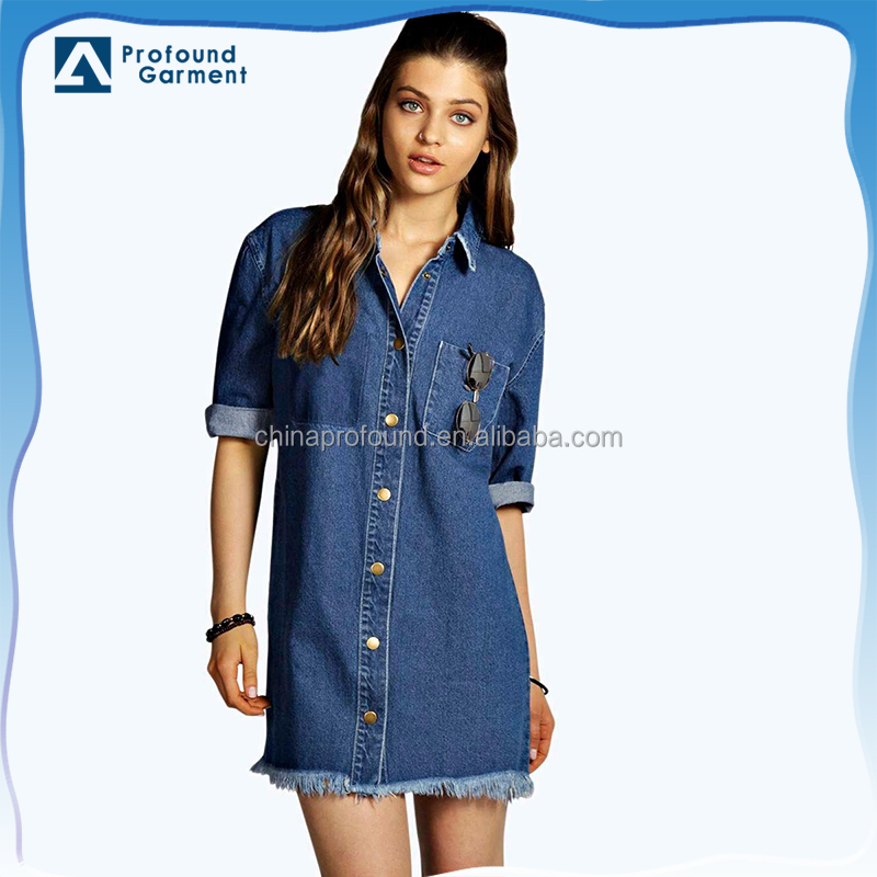ladies trendy fringe hem denim shirt dress pattern