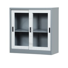 space saving furniture office use low steel cabinet with sliding glass 2 doors