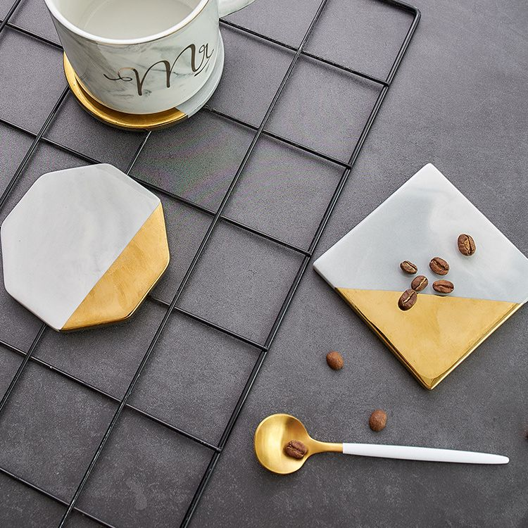 Water Absorption Round Ceramic Cork Back Coaster Set