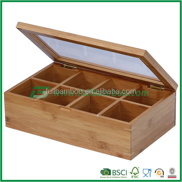FB4-1008 healthful bamboo tea box storage with 8 compartments