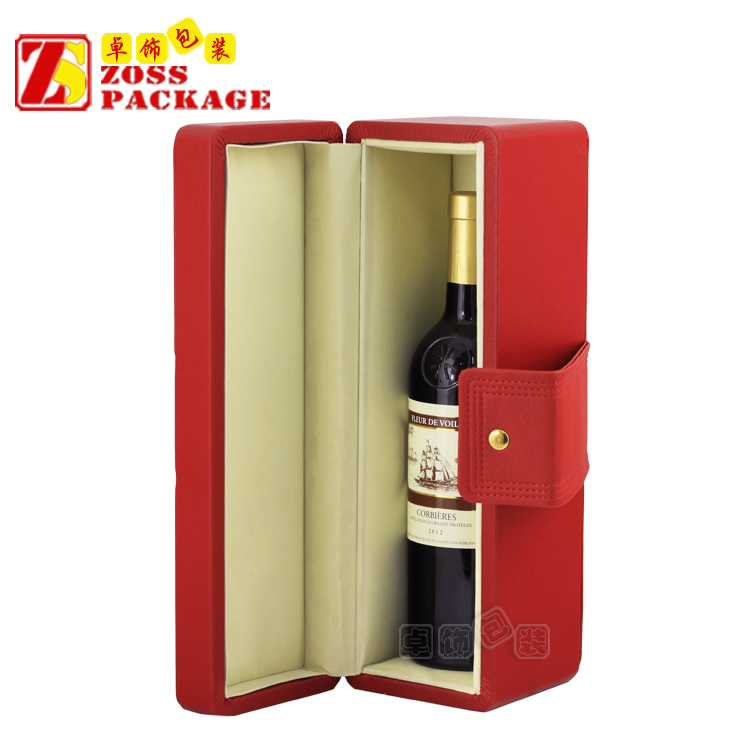 Red PU Leather hot sale China custom small wooden wine box