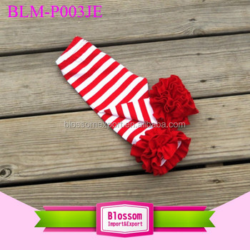 Girl ruffle icing red white stripe cotton legging baby sew sassy leggings new design children wear triple ruffles capris pants