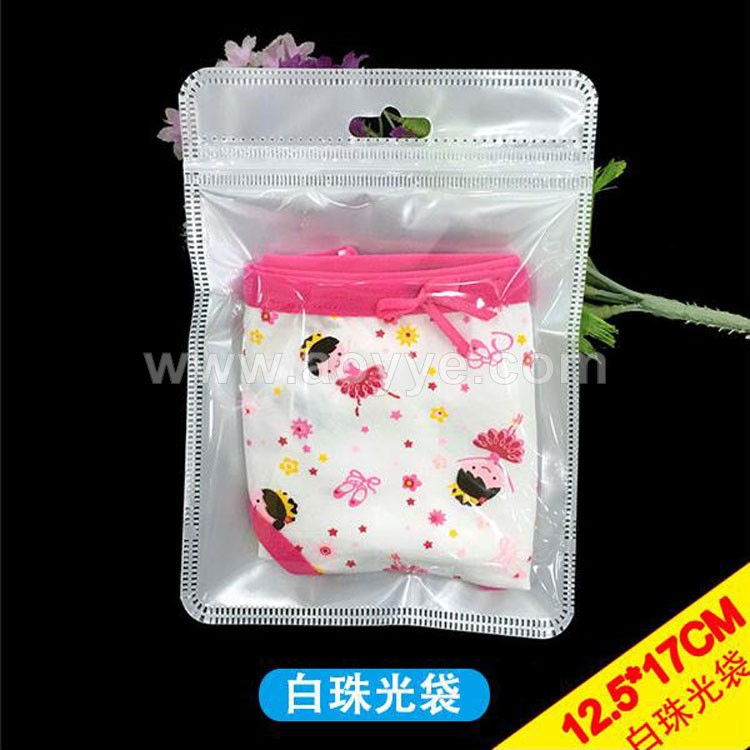 Stock golden silver clothes gift clear transparent underwear packaging small waterproof pp plastic zipper bag with hanging hole