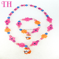 factory wholesale latest design seed bead necklace bracelet jewelry set resin plastic colorful girl kids handmade bead necklace