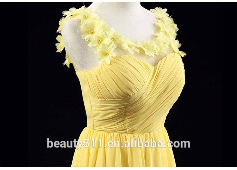 Appliqued Elegant A-line Scoop Sleeveless Floor-length Chiffon Long Wedding Bridesmaid Dresses Handmade Flowers Bridesmaid gown