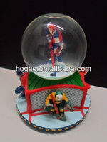 hockey players resin snow globe